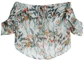 Walter W118 By Baker Carter Off-The-Shoulder Floral-Print Fil Coupé Chiffon Blouse