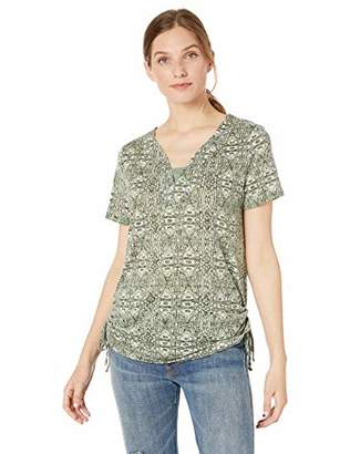 Erika Women's Emmy Split Neck Short Sleeve Knit Tee Shirt with Ruched Side