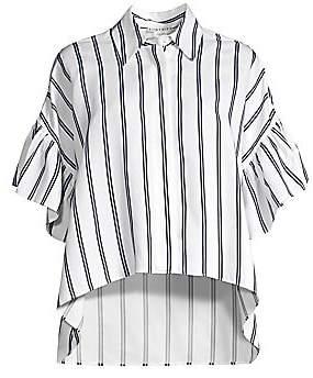 Alice + Olivia Women's Edyth Striped Ruffle High-Low Shirt