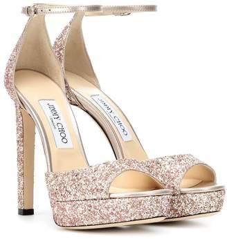 Jimmy Choo Pattie 130 glitter plateau sandals