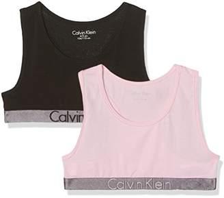 Calvin Klein Girl's 2 Pack Bralette Bustier,128 (Manufacturer Size: 8-10)