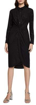 BCBGeneration Metallic Pinstripe Long-Sleeve Shirtdress