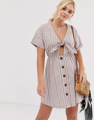 908329a6774a Gilli button down mini dress with tie front detail in stripe