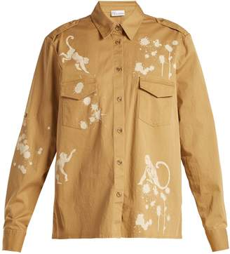 RED Valentino Monkey-print cotton military shirt