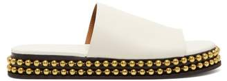 Chloé - Beaded Flatform Leather Slides - Womens - White