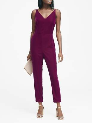 Banana Republic Petite Velvet Cropped Jumpsuit
