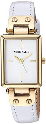 Anne Klein Women's AK/3204WTWT Gold-Tone and White Leather Strap Watch