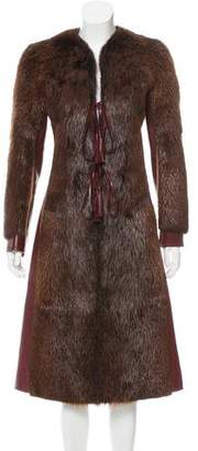 Dolce & Gabbana Leather Fur Coat