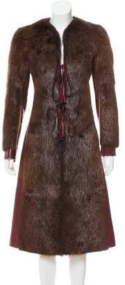 Dolce & Gabbana Leather Fur Coat