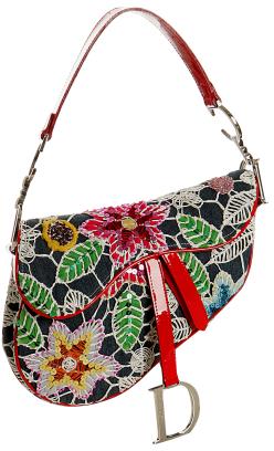 Christian Dior denim floral embroidered saddle bag