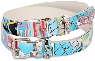 Prada 25mm James Jean Print Leather Belt