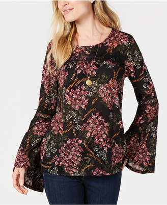 Style&Co. Style & Co Petite Printed Lace-Trim Top