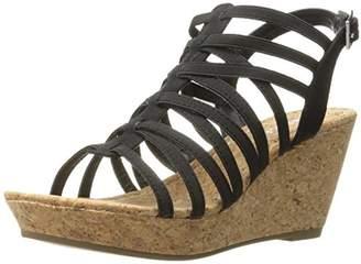 Rampage Women's Josie Stretch Elastic Platform Open Back Wedge Sandal