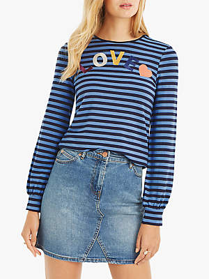 Oasis Love Slogan Striped Top, Multi/Blue