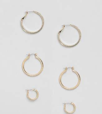 Asos Design Pack Of 3 Vintage Style Etched Hoop Earrings