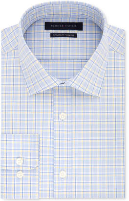 Tommy Hilfiger Men's Fitted Stretch Yellow & Blue Check Dress Shirt, Created for Macy's