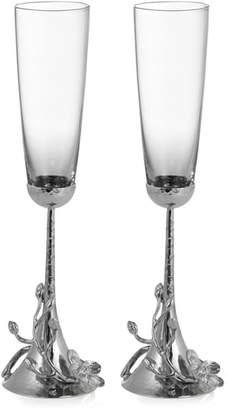 Michael Aram White Orchid Set of 2 Toasting Flutes