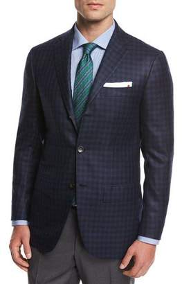 Kiton Check Cashmere Sport Coat, Blue