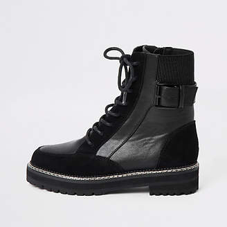 River Island Black suede lace-up chunky biker boots