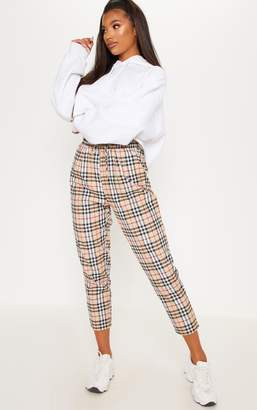 PrettyLittleThing Tan Checked Casual Trousers