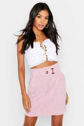 boohoo Babycord Paperbag Waist Buckle Mini Skirt