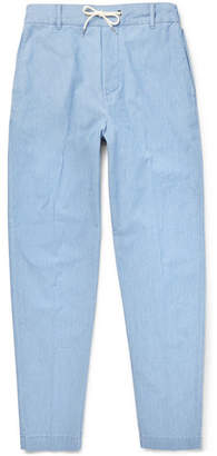 MAISON KITSUNÉ Cotton-Chambray Drawstring Trousers