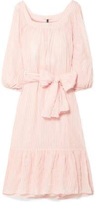 Lisa Marie Fernandez Laure Striped Crinkled-voile Midi Dress