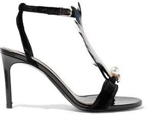 Lanvin Embellished Velvet And Patent-Leather Sandals