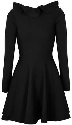 Valentino Black Ruffle-trimmed Stretch-knit Dress