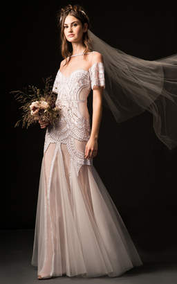 Temperley London Bridal Phoebe Off Shoulder Gown with Embroidered Bodice