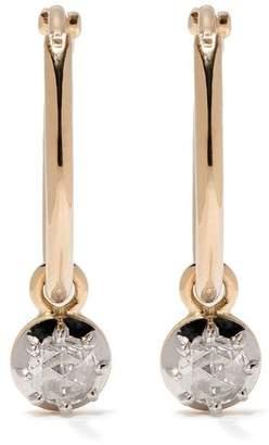 hum 18kt yellow gold large hanging diamond earrings