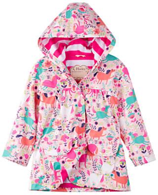 Hatley Girls' Roaming Horses Raincoat, Pink