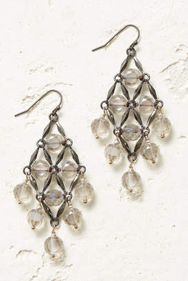 Diamond Shape Beaded Drop Earrings