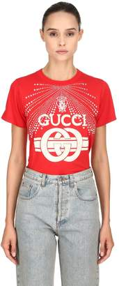 Gucci Embellished Cotton Jersey T-Shirt