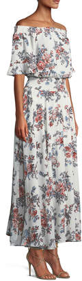 Glamorous Off-The-Shoulder Floral Maxi Dress