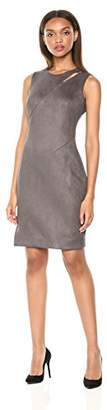 Milly Women's Faux Suede Fractured Shoulder Sleeveless Sheath Dress