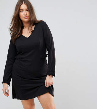 Junarose long sleeve jersey mini dress in black with frill detail
