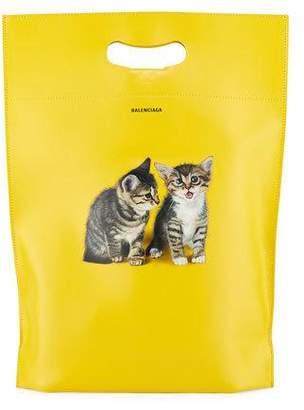 Balenciaga Men's Small Kitten Graphic Leather Shopper Tote Bag