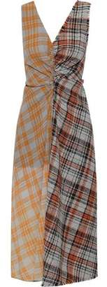 Acne Studios Ruched Checked Wool-tweed And Crepe Midi Dress