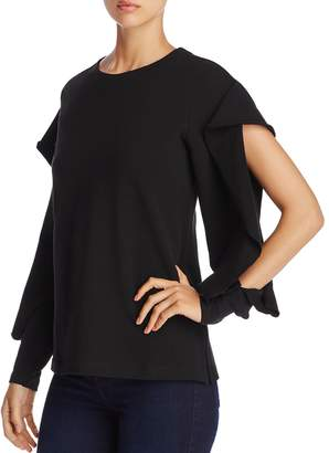 Vince Camuto Ruffle Split Sleeve French Terry Sweatshirt