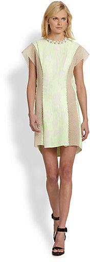 3.1 Phillip Lim Embellished-Neck Mesh-Paneled Jacquard Dress