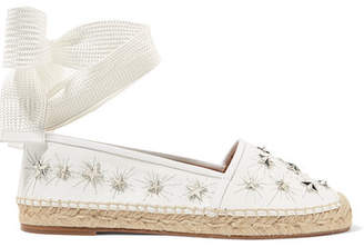 Aquazzura Cosmic Stars Embellished Leather Espadrilles - White