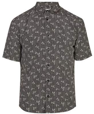 Saint Laurent Geometric Print Silk Shirt - Mens - Black Multi