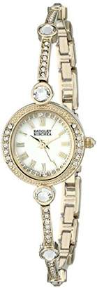 Badgley Mischka Women's BA/1350WMGB Swarovski Crystal Accented -Tone Bangle Watch