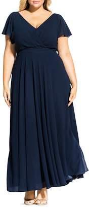 City Chic Plus Flutter Sleeve Maxi Dress