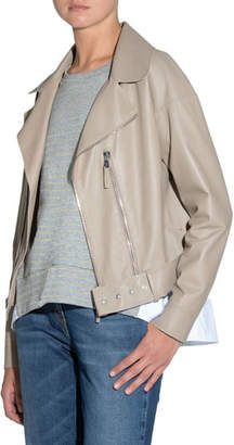 Eleventy Smooth Leather Moto Jacket