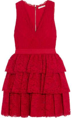 Alice + Olivia Alice Olivia - Clora Tiered Corded Lace Mini Dress