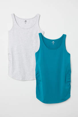 H&M MAMA 2-pack Jersey Tank Tops - Turquoise