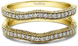 Charles & Colvard TwoBirch 0.37 ct. Charles Colvard Created Moissanite Contour Ring Guard with Millgrained Edges and Filigree Cut Out Design in 10k Yellow gold (3/8 ct. twt.)