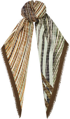Jimmy Choo CALI Olive Printed Cashmere Shawl with Logo and Contrasting Frame